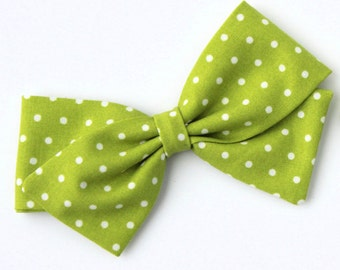 Lime Green Polka Dot Bow - Hair Bows For Girls - Nylon Headbands and Hair Clips for Babies