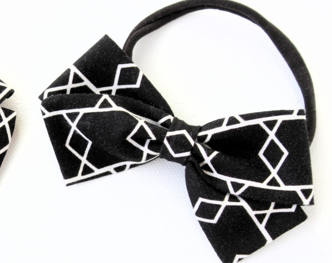 Black and White Baby Bow - Geometric Hair Accessories - Black Baby Bow Headband