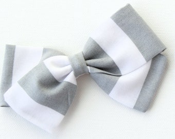 Gray and White Striped Bow For Girls - Hair Bows and Headbands - Nylon Headbands and Hair Clips