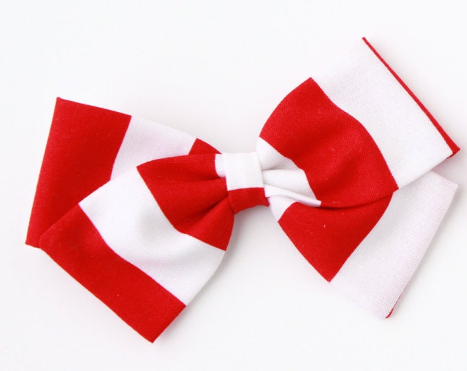 Hair Bows For Girls, Red and White Striped Hair Bow For Babies and Girls - Nylon Headband and Clips