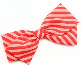 Baby Girl, Toddler, Girls Fabric Bow, Newborn, Hand tied bow- Red and Coral Stripe