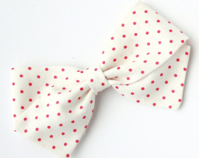 Pink and White Polka Dot Bow