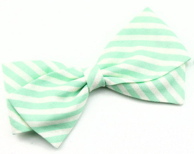 Aqua Striped Fabric Hair Bow - Aqua and white stripe - Nylon Headband or Hair Clips for Girls