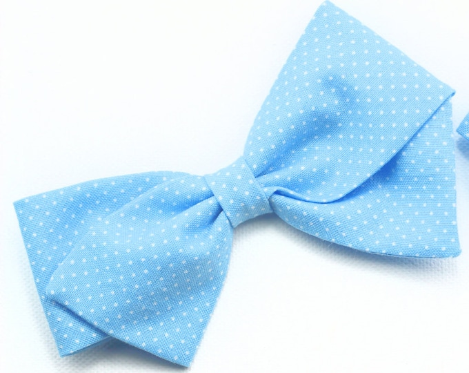 Baby Girl, Toddler, Girls Fabric Bow, Newborn, Hand tied bow- Blue pin dot