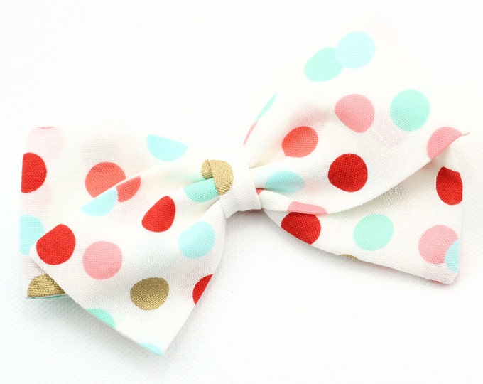 Polka Dot Bow - Pink, Aqua, Gold and white fabric bows - nylon headband and baby clips