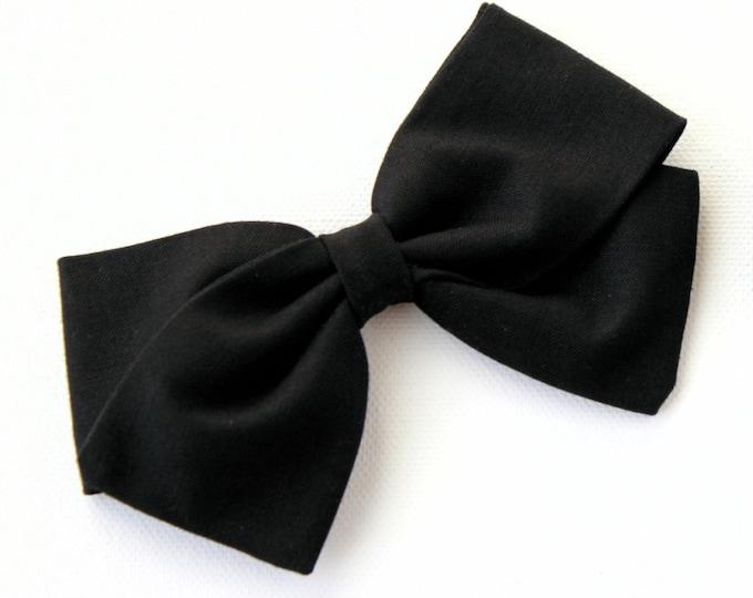Black Hair Bow - Fabric hair bows for girls - Nylon Headbands for babies