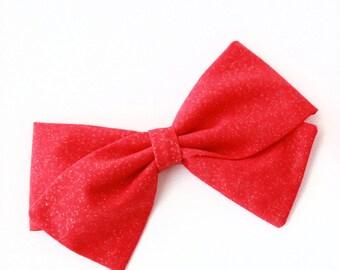 Baby Girl, Toddler, Girls Fabric Bow, Newborn, Hand tied bow- Red metallic