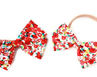 Hair Bows and Clips For Babies - Red Floral Hair Bow - Hair Bows for Toddlers