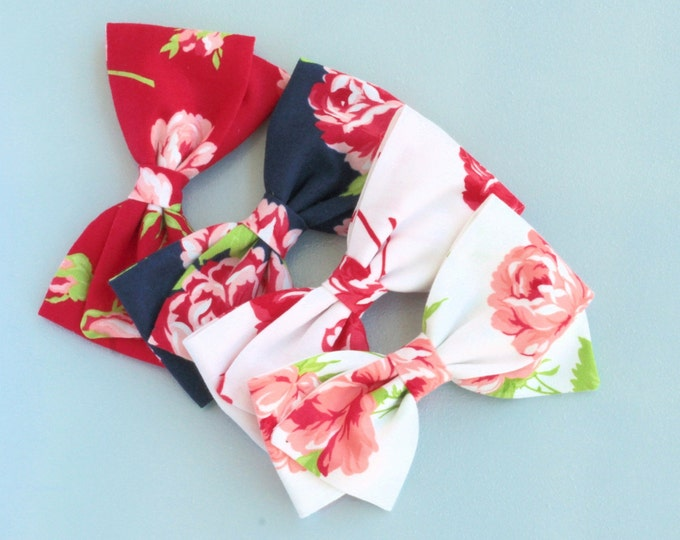 Floral Hair Bow - Nylon Headband - Navy Bow - Red Bow - White Bow