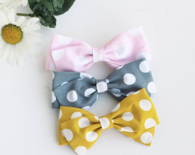Polka Dot Hair Bow -Mustard Bow- Pink Polka Dot Bow- Gray Hair Bows