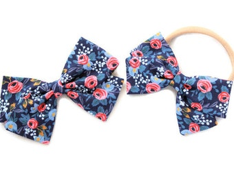 Rifle Paper Co Headband Baby - Rosa Floral Navy Fabric - Hair Bow