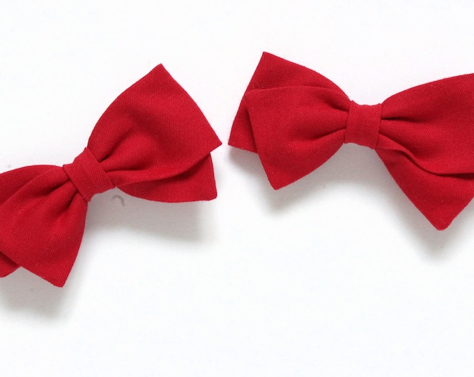 Red Pigtail Bows - 2 Pigtail Bows - Hair accessories for braids