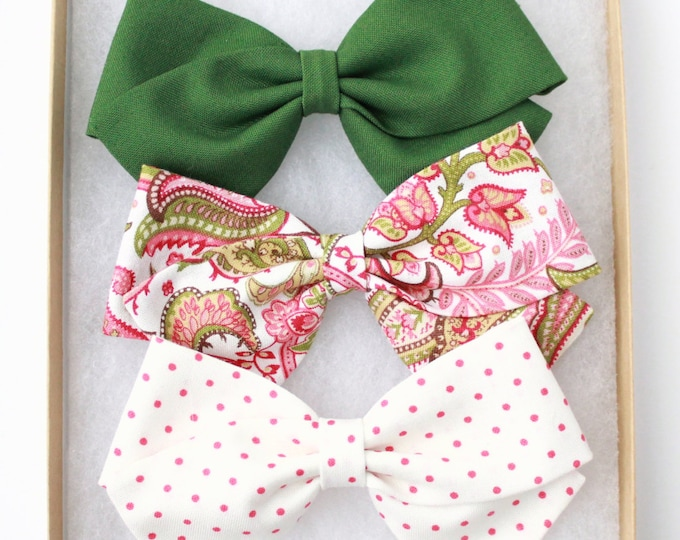 3 Pack Baby Girl Bows - Baby Shower Gift For Girl- Hunter Green, Pink Paisley, and White and Pink Polka Dot Bow