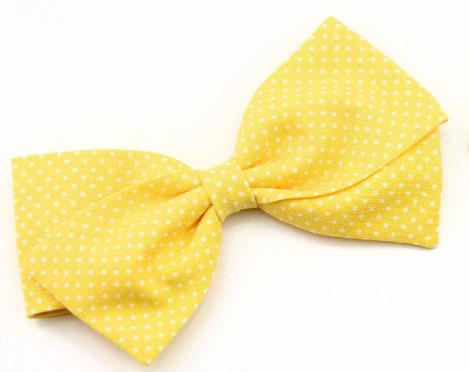 Yellow Hair Bow,  Yellow With White Pin Dot Fabric Bow,  Nylon Headband or Clip