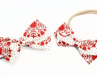 Red and Cream Baby Headband - Baby Girl Hair Accessories - Headbands and clips
