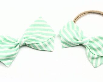 Aqua Striped Fabric Hair Bow - Aqua and white stripe - Nylon Headband or Hair Clips for Girls