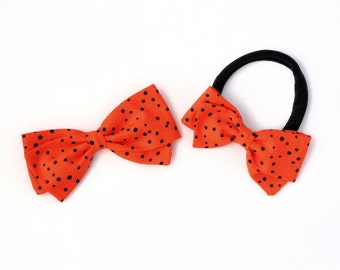 Halloween Hair Bows For Girls  - Orange and Black Hair Bow