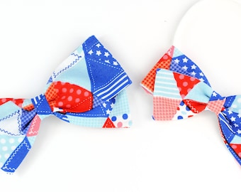Red White and Blue hair bow - 4th of July hair bow for babies, and girls - nylon headband or clips - SALE