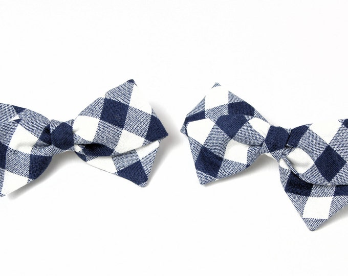 Pigtail bows - Set of 2 - Hair Accessories for Braids - Hair Barrettes or Alligator Clips - Blue Gingham Mini Bows