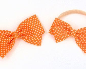 Polka Dot Hair Bow - Orange and White Polka Dot Hair Bow - Newborn Nylon Headband or clips