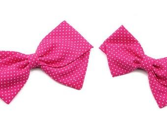 Hot Pink Baby Bow - Nylon Headbands and Hair Clips for Girls - Polka Dot Bow