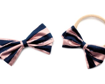 Pink and Navy Bow - Metallic Hair Bow -  Nylon Headband and Hair Clips