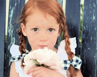 Pigtail Hair bows - Hair Accessories for Braids - Hair Barrettes or Alligator Clips - Blue Gingham Hair Bow