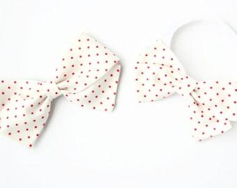 Pink and White Polka Dot Bow