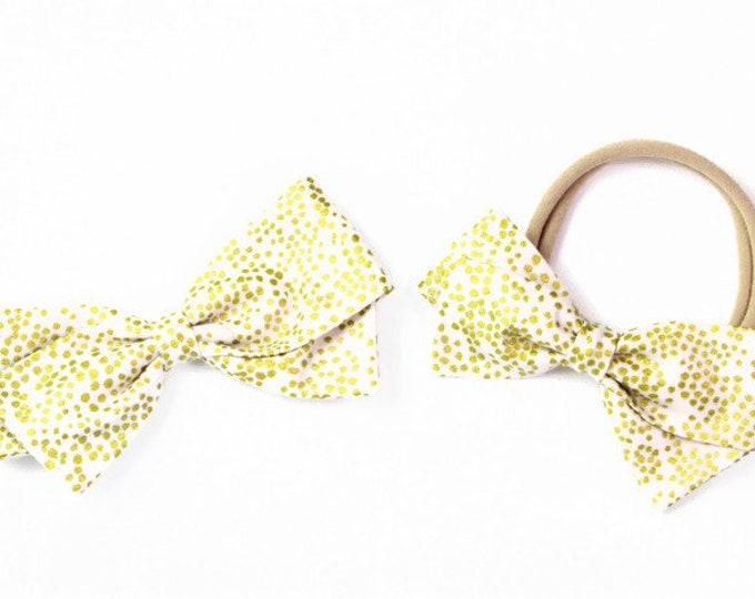 Blush and Gold Hair Bow - Rifle Paper Bows - Blush Champagne Hair Bow