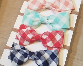 Gingham Bows - Hair bows for girls - Red, Blue, Coral or Aqua Gingham bow