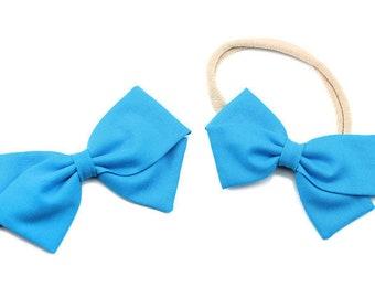 Turquoise Bow, toddler, baby girl, fabric bow, nylon headband or clip, newborn,
