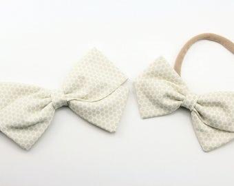 Baby bow, fabric bow, gray and tan dots, toddler, baby girl, nylon headband or clip