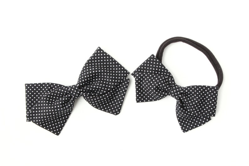 Nylon Headbands and Clips Fabric Hair Girls Black with White Hair Bows