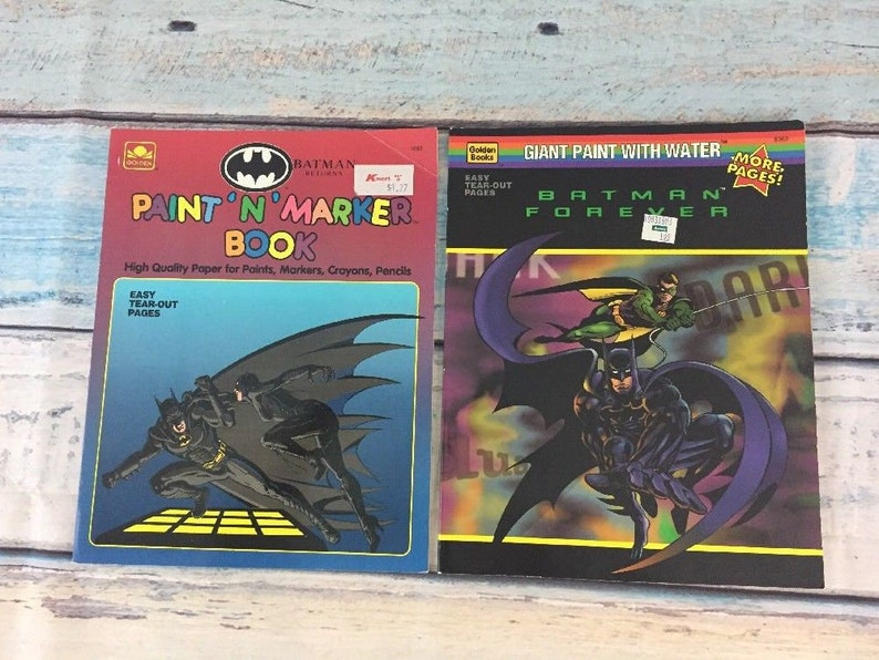 Set of 2 Batman Coloring Books, Paint with Water Marker, Forever Return,  UNUSED, Printed in the USA, Ephemera, Vintage Crafts