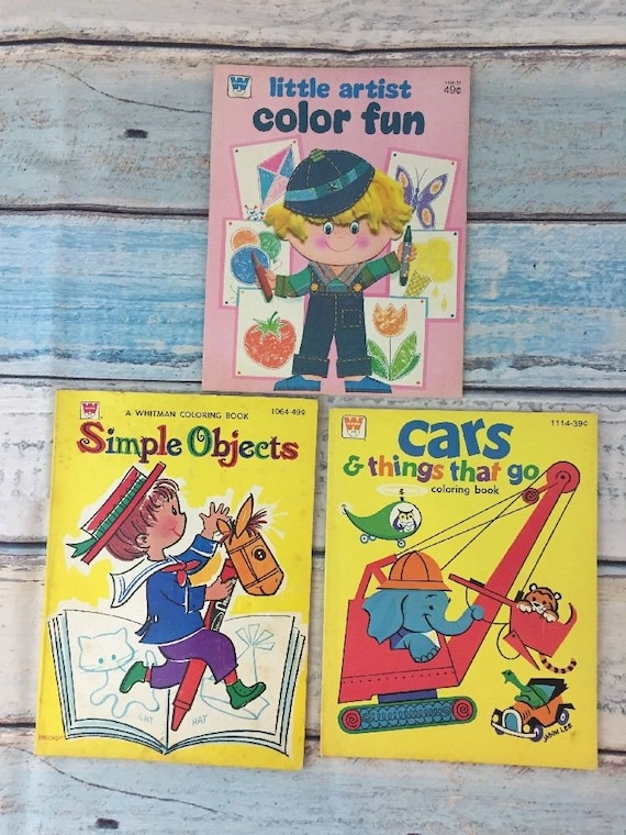Whitman Coloring Books: Simple Object 1967 Cars & Things   Etsy