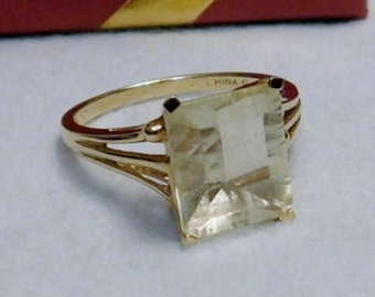 20% Off Blow Out Sale - Vintage - 925 - Sterling Silver Gold Plated Ring with Translucent / Transparent Clear Stone