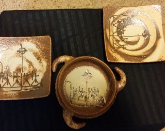 50% Off Sale - Ancient Style 3 piece pottery set - 2 plates and one serving dish - Singed by Artist