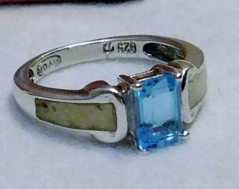 50% Off Sale - Aqua Blue Stone with Accent Stones - Sterling Silver - 925 Ring