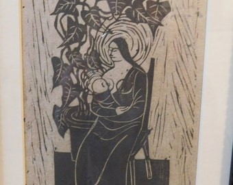 Vintage - Hand Signed - Etching - Framed Black - Edgar Britton - Colorado Artist (1901-1982)