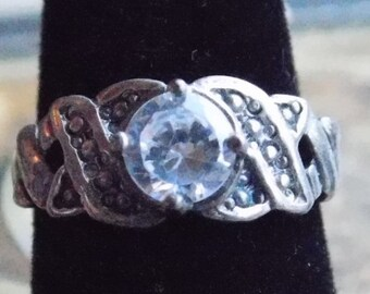 Sterling Silver CZ Center Stone with - 925 - Women / Woman Ring - Size 6.75 Approximately - Guaranteed
