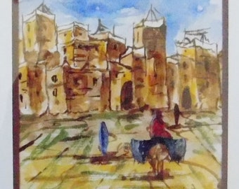 Villa - Village Watercolor Art with Signature - Signed (See Signature) - Framed - Small Art Heritage Landscape