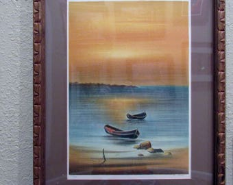 Authentic Limited Edition Boat and Seascape Scene Lithograph with Vibrant Colors - Framed with Glass - Signed & Numbered