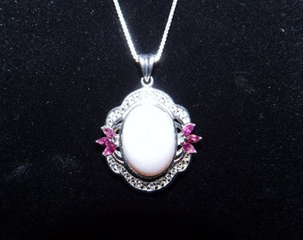 30% Off Sale - Limited Time - Beautiful Vintage 925 - Sterling Silver Necklace with Pendant - Ornate - Rose and Light Pink Tones