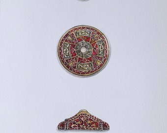 Watercolor  3 objects from the Staffordshire hoard