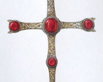 Watercolor, gold cross of the Staffordshire hoard, reconstitution