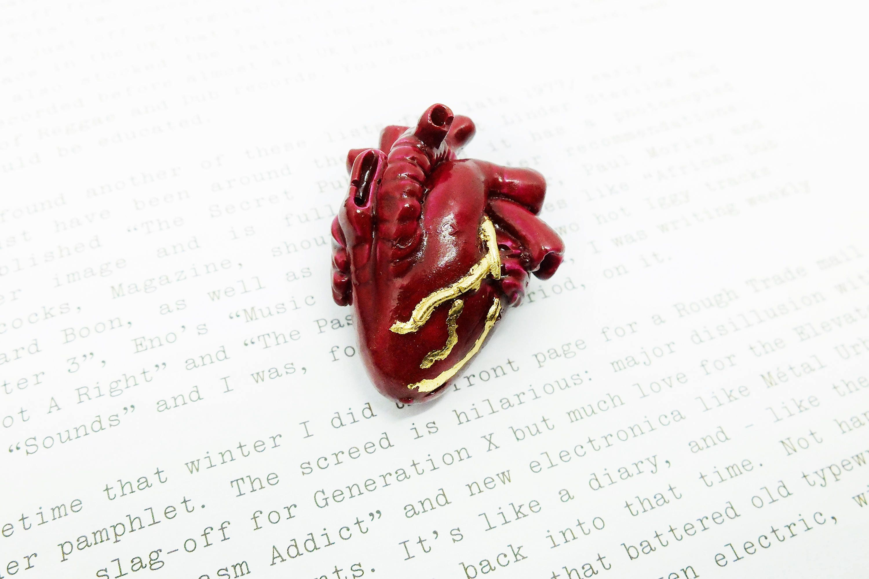 ee25bafe4 Anatomical heart brooch red and gold | Etsy