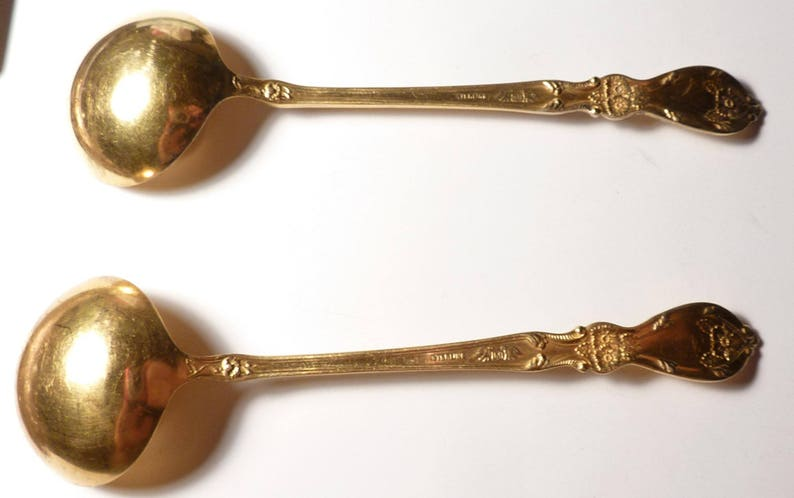 - Lot of two No Monograms 2 5 34 Vermeil Sterling Silver Spoons Baker-Manchester Manufacturing Co