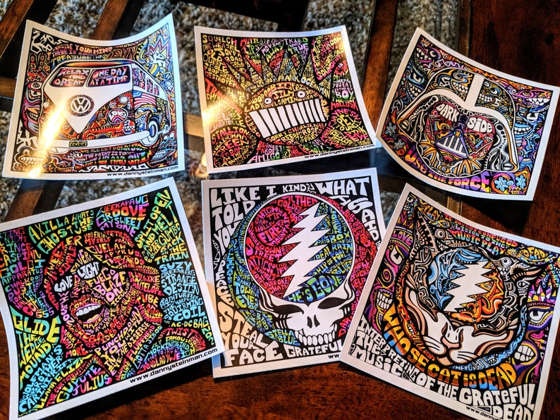 STICKERS 6-Pack U-Choose Art Phish Grateful Dead Twiddle Ween