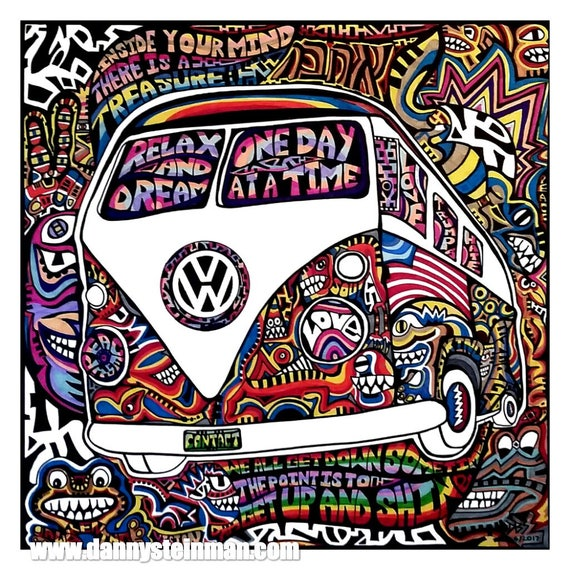 on the bus 14 x 14 grateful dead psychedelic art poster print etsy VW Bus Snow Globe image