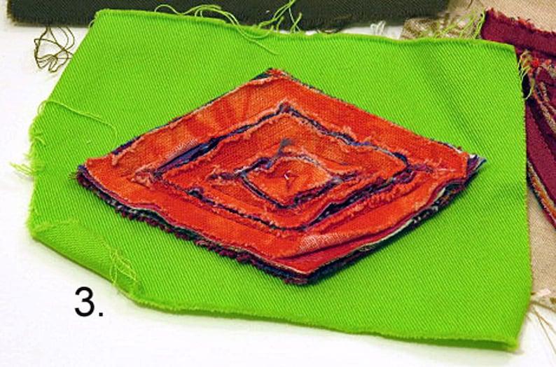 Plush Appliques for clothing and accessories Medium chenille applique designs triangles and diamonds Unique plush textile decorations